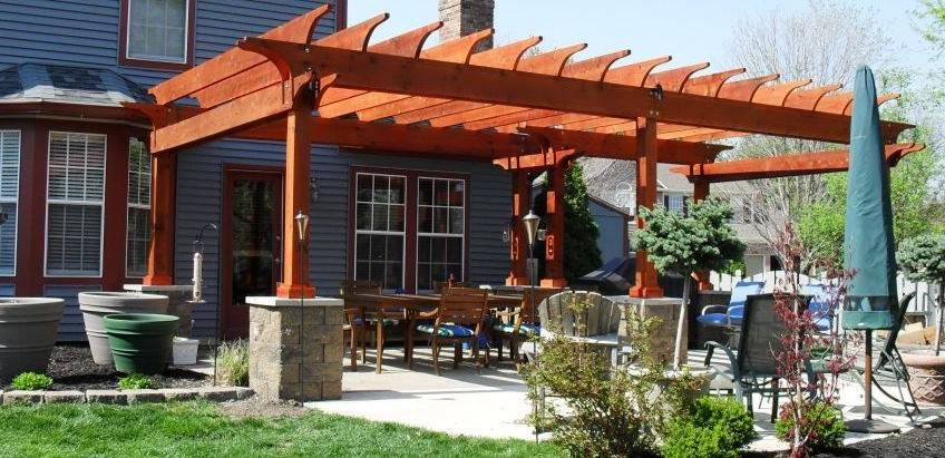 outdoor living space and outdoor kitchen